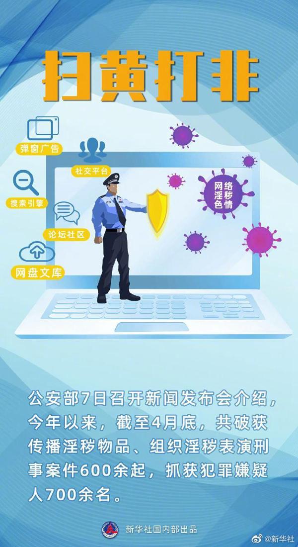 公安机关严打网络直播等领域淫秽色情违法犯罪