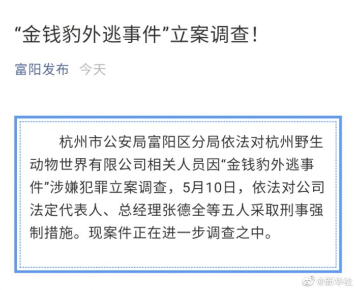 杭州公安对金钱豹外逃事件立案调查 五人被采取刑事强制措施