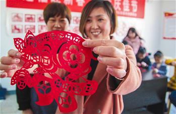 河北永清:剪紙迎新年