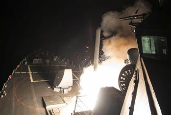 美國向敘利亞發射數十枚導彈