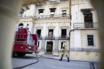 巴西國家博物館火災過後幾成廢墟