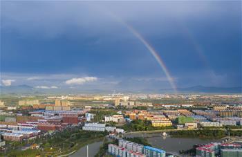 吉林琿春出現雙彩虹