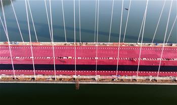 廣西柳州官塘大橋橋面瀝青正式攤鋪