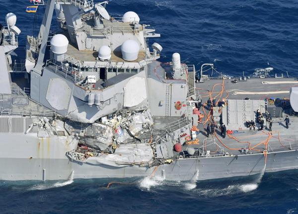 美国撞船神盾舰被曝混乱管理:战斗中心随地扔尿瓶