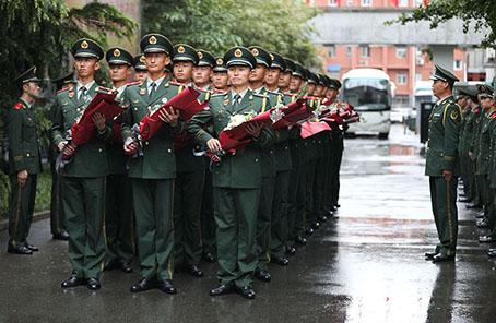 武警北京總隊執勤第三支隊舉行參加國慶閱兵官兵凱旋儀式