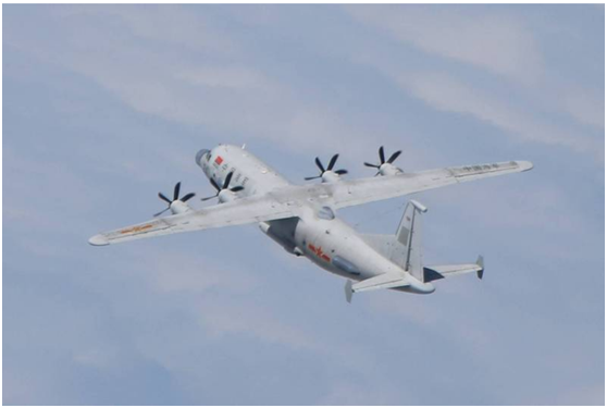 台湾防务部门发布的解放军军机进入台湾西南空域照片(资料图)