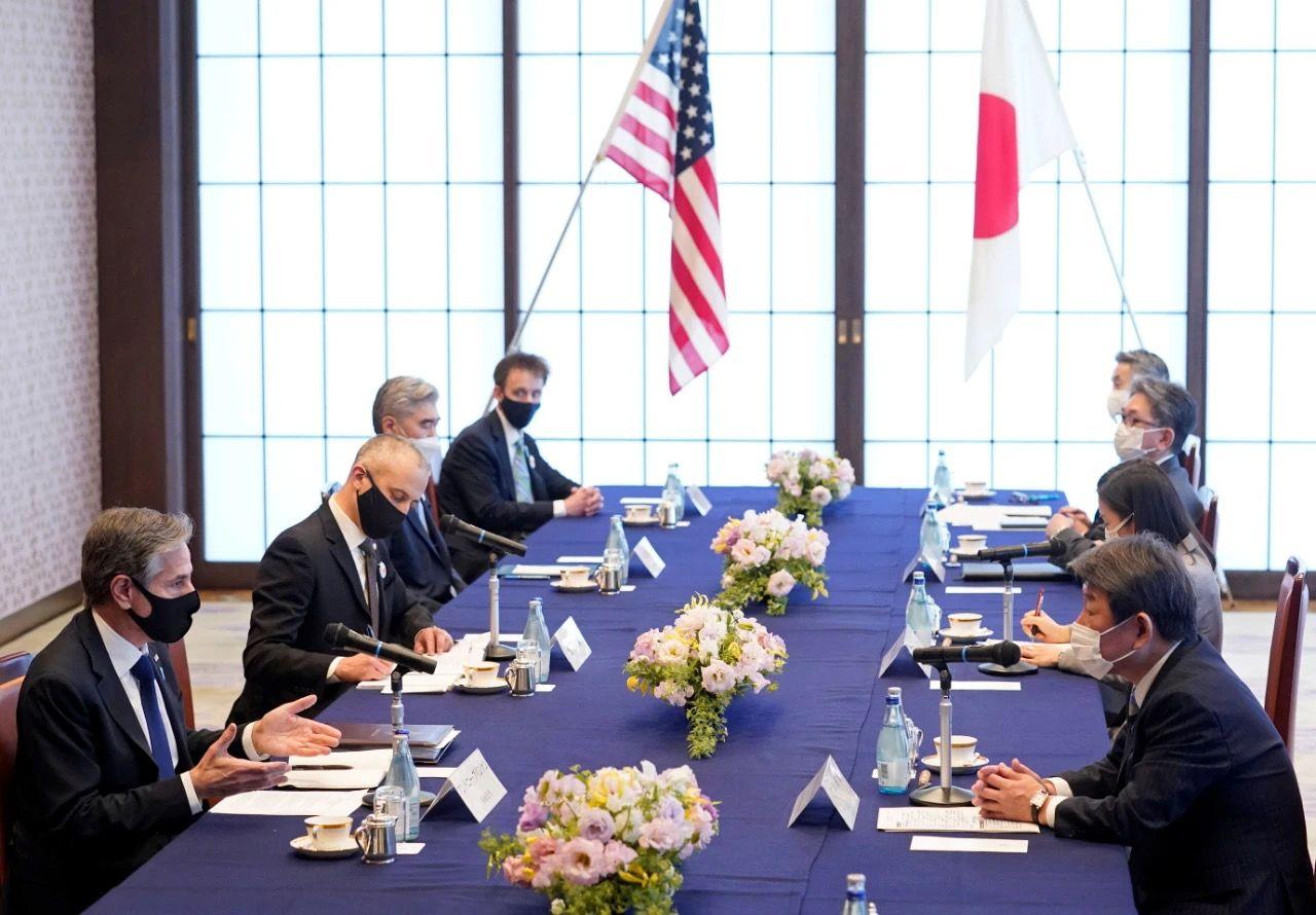 """▲2021年3月16日美國國防部長勞埃德·奧斯汀等在日本東京與日本防衛大臣岸信夫等舉行""""2+2""""會談。圖片來源:IC photo"""
