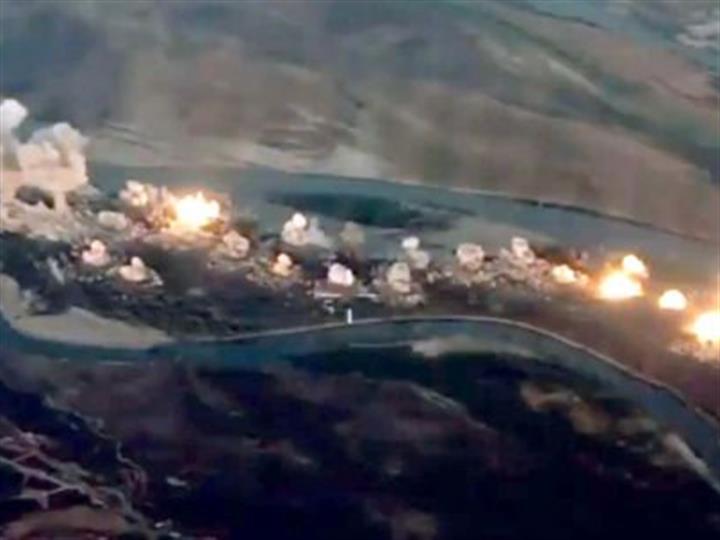 36噸炸彈毀滅恐怖分子!反恐聯軍將恐怖分子老巢化為火海