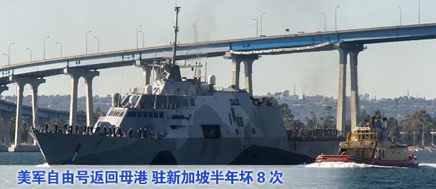 組圖:美軍自由號返回母港 駐新加坡半年壞8次