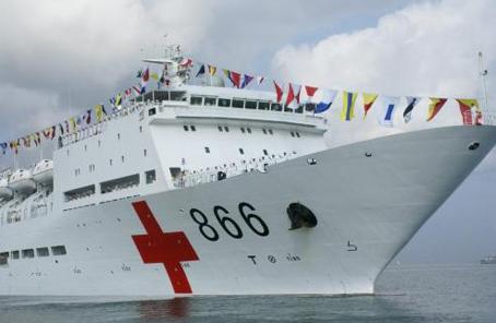 中國海軍和平方舟醫院船首訪安哥拉