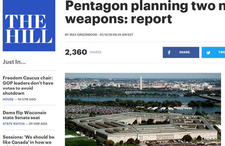 """美國擬研發新核彈頭 聲稱應對中俄""""軍事威脅"""""""