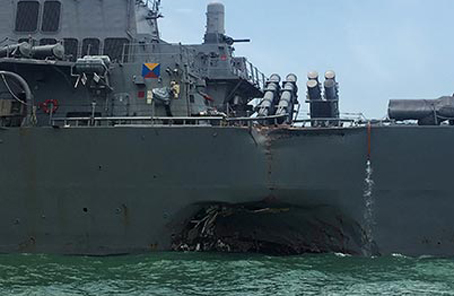 美國驅逐艦撞船事件後續:海軍軍官面臨殺人指控