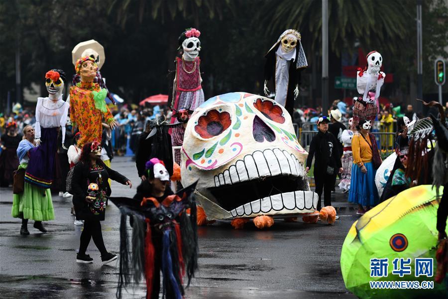 (国际)(1)墨西哥城举行亡灵节游行