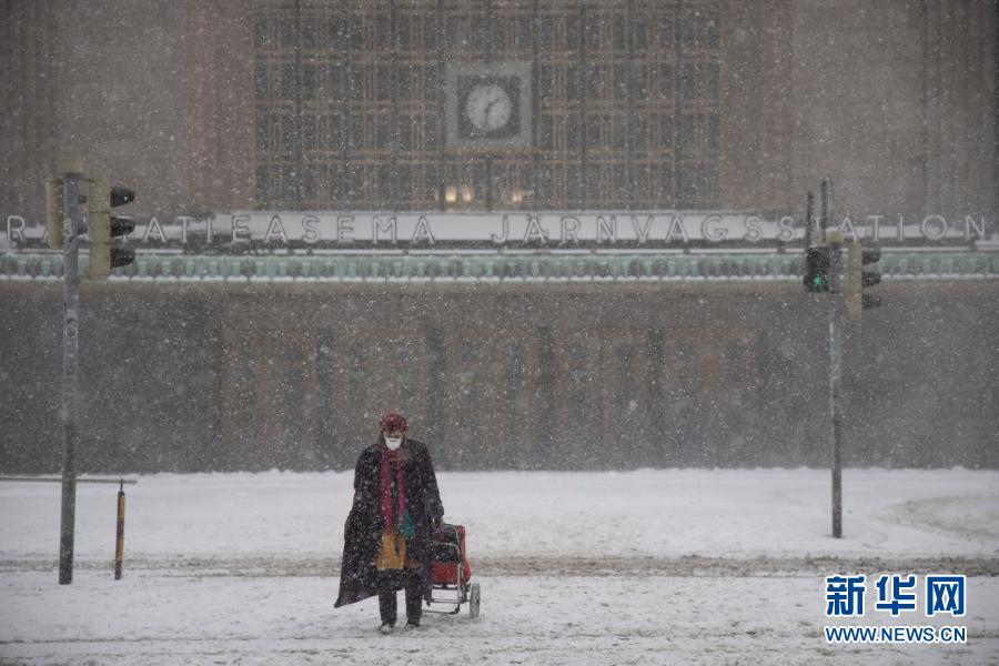 芬兰:赫尔辛基遭遇风雪天气