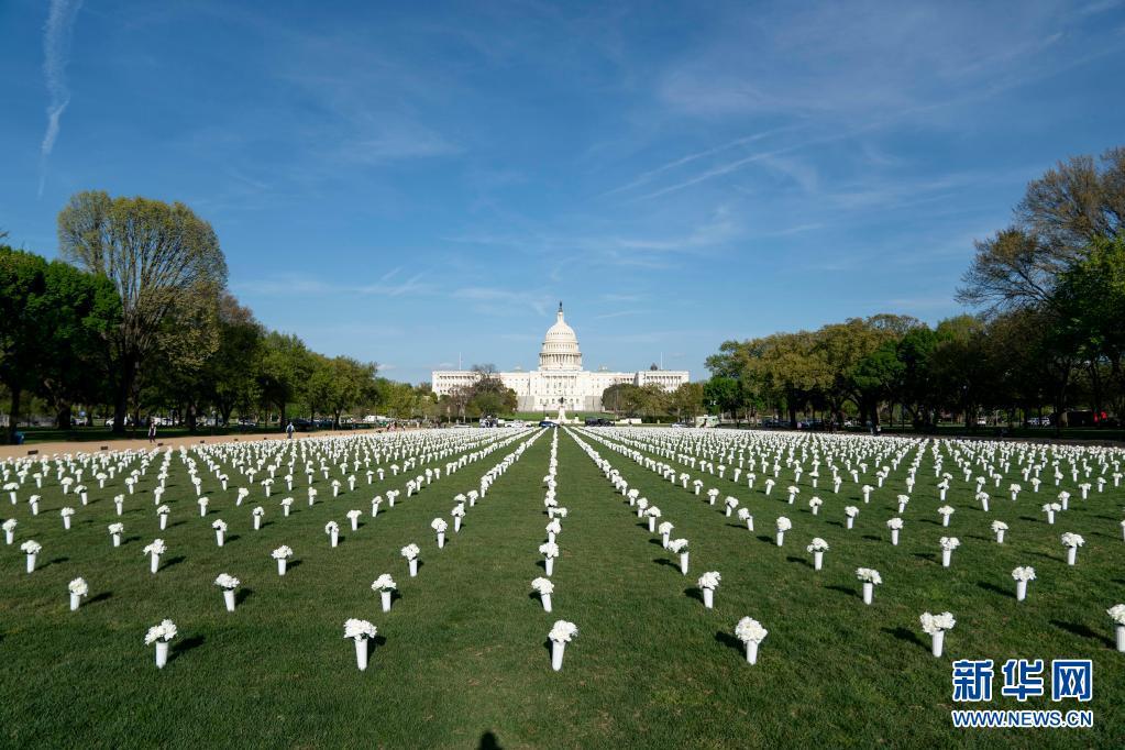 美国华盛顿:四万绢花纪念枪击遇难者