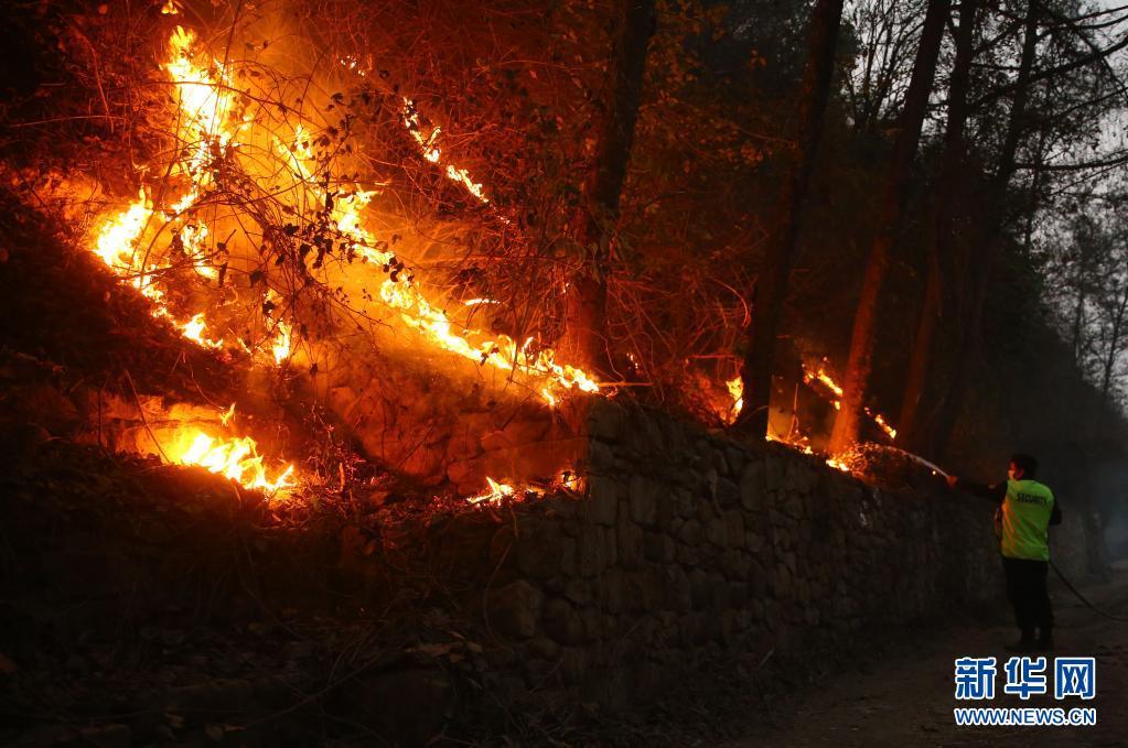 尼泊尔:工作人员进行灭火作业