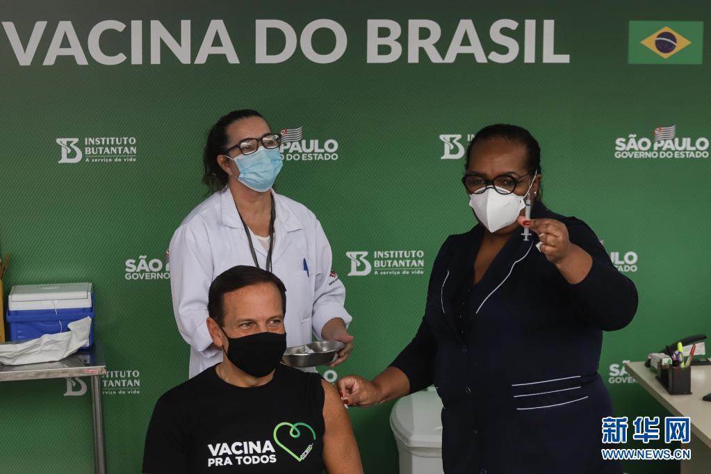 巴西圣保罗州州长7日接种中国科兴疫苗