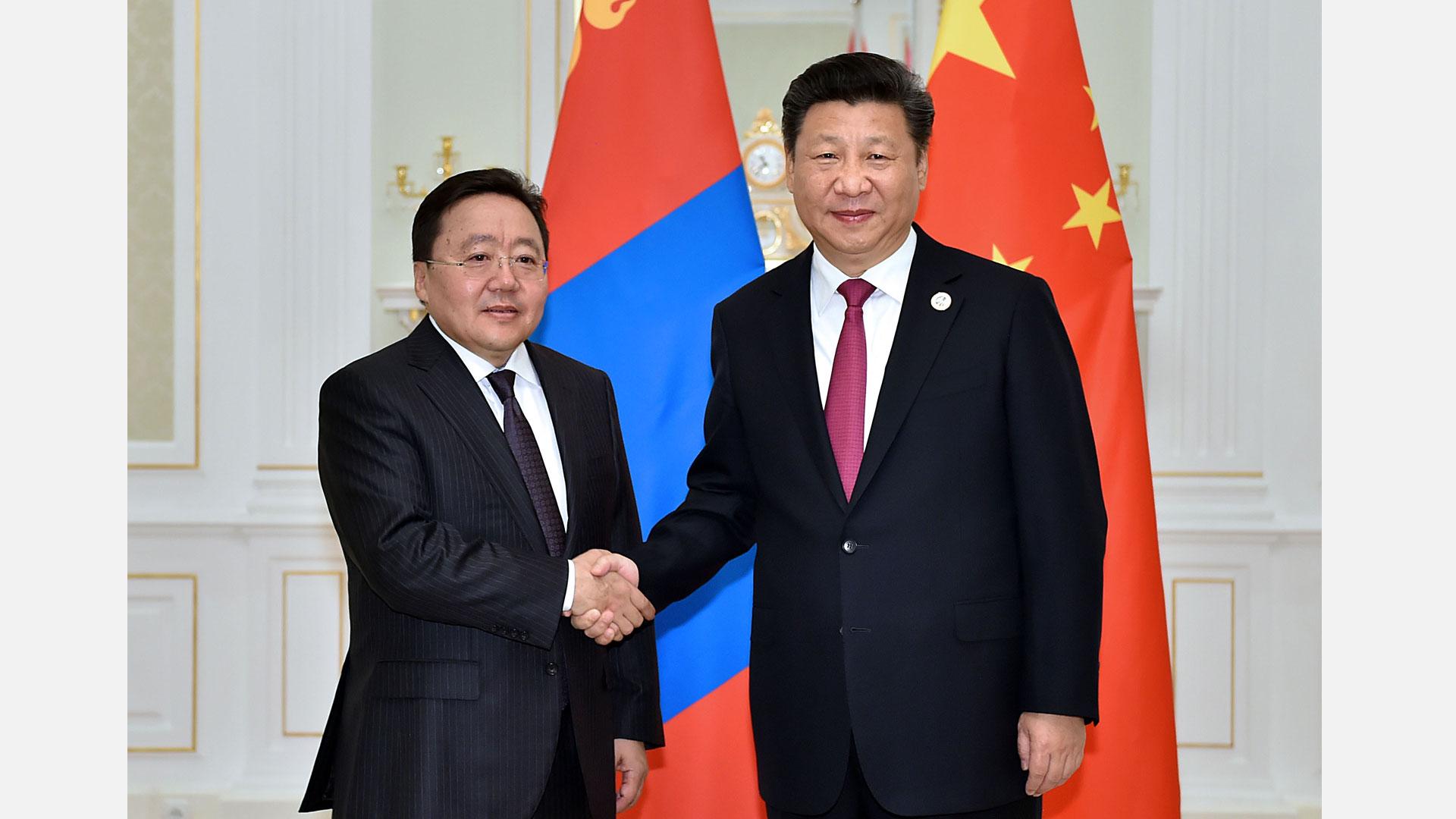 習近平會見蒙古國總統額勒貝格道爾吉