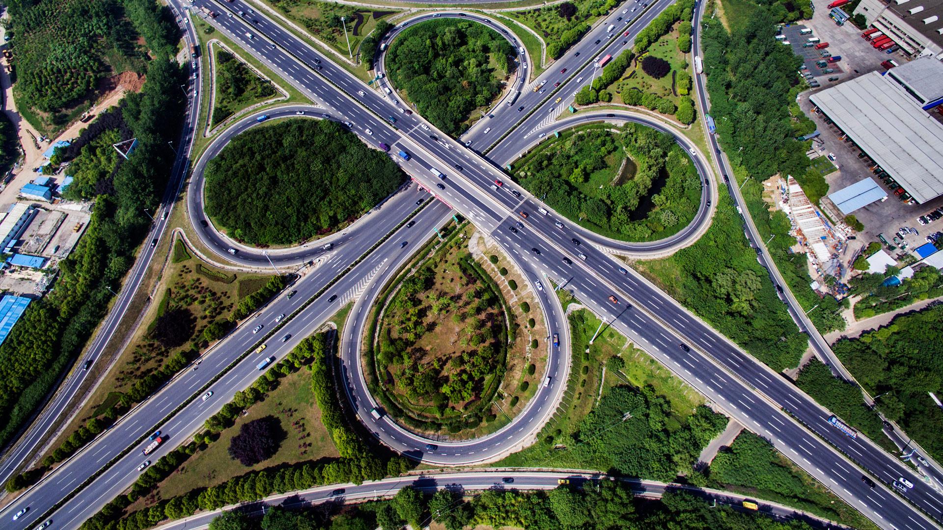 """航拍立交桥:城市里的美丽""""中国结""""。 - 人在上海    - 中国新闻画报"""