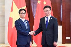 韓正會見越南副總理武德擔