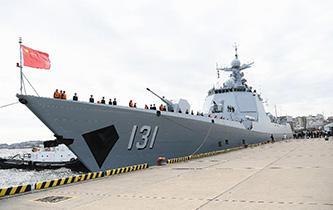 中國海軍艦艇抵達日本將參加國際艦隊閱艦式