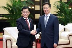 韓正會見新加坡副總理王瑞傑並共同主持中新雙邊合作機制會議