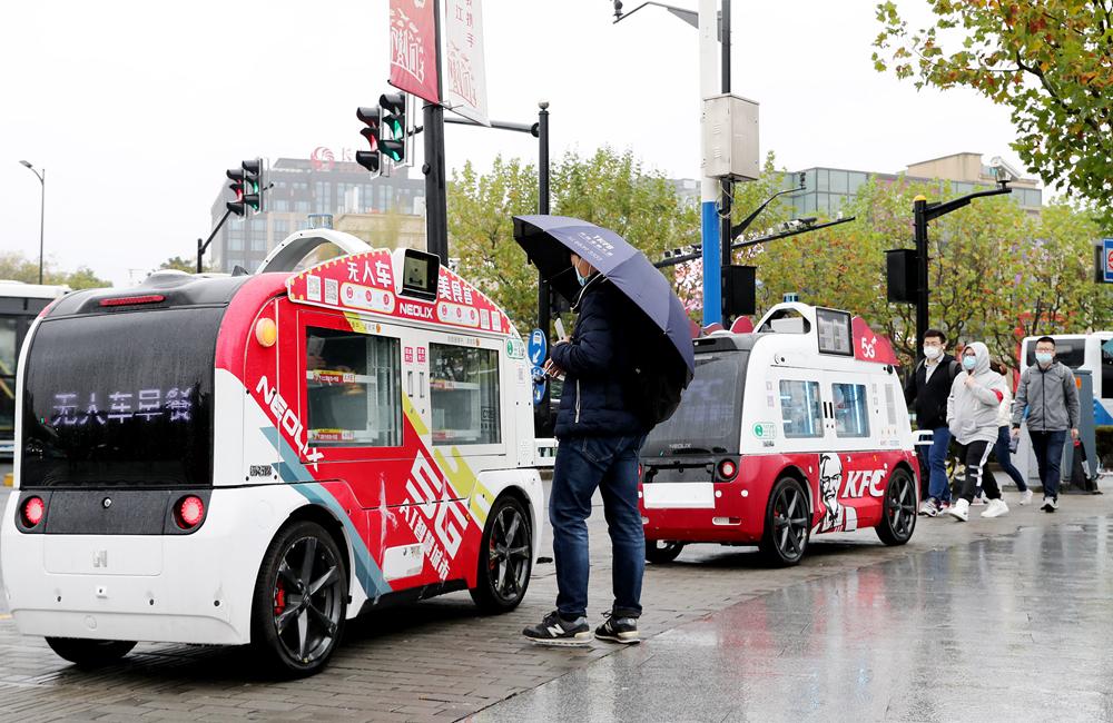 上海:無人餐車服務市民