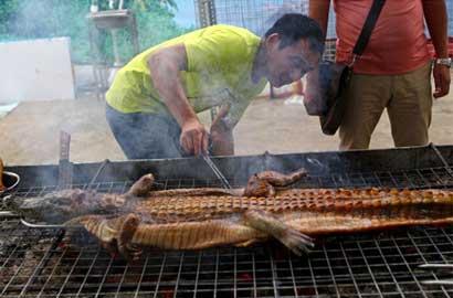 南寧美食節驚現生烤鱷魚 難以下咽的重口味美食