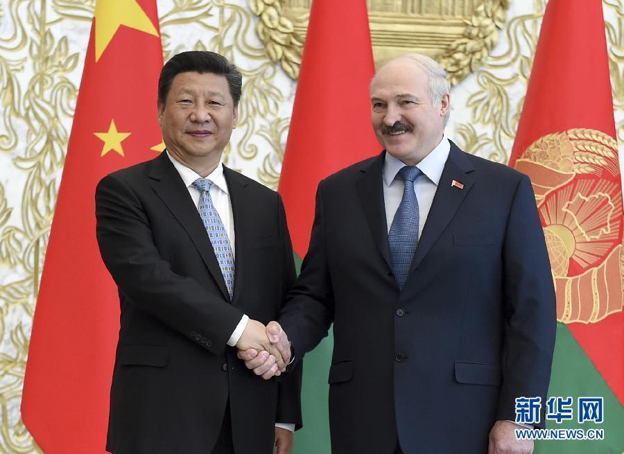 5月10日,國家主席習近平在明斯克同白俄羅斯總統盧卡申科舉行會談。 新華社記者李學仁攝