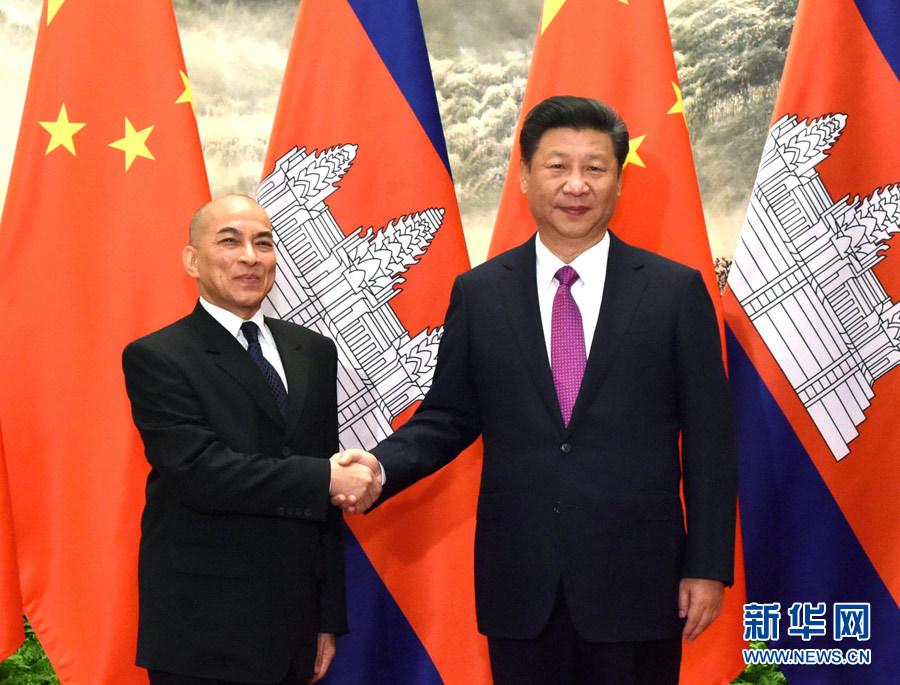 6月3日,國家主席習近平在北京人民大會堂同柬埔寨國王西哈莫尼舉行會談。 新華社記者 饒愛民 攝