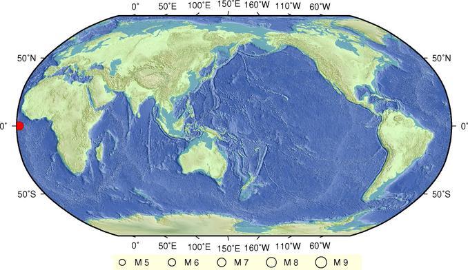 据中国地震台网测定,北京时间在阿森松岛以北海域()发生6.