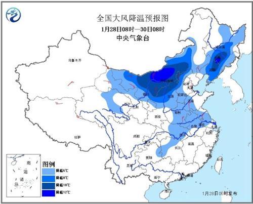 初一至初三冷空氣席卷中東部氣溫普降6~10℃