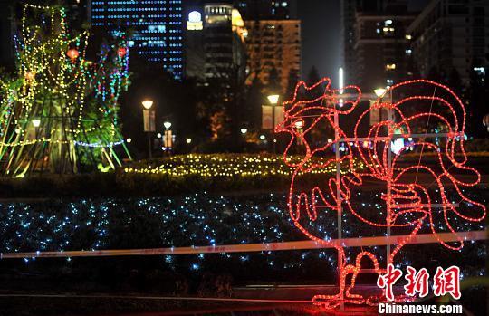 2月7日晚,福州溫泉公園裏各種彩燈將公園裝扮的流光溢彩。 張斌 攝