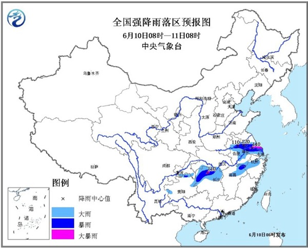 南方降雨今日最強盛 江蘇安徽有大暴雨