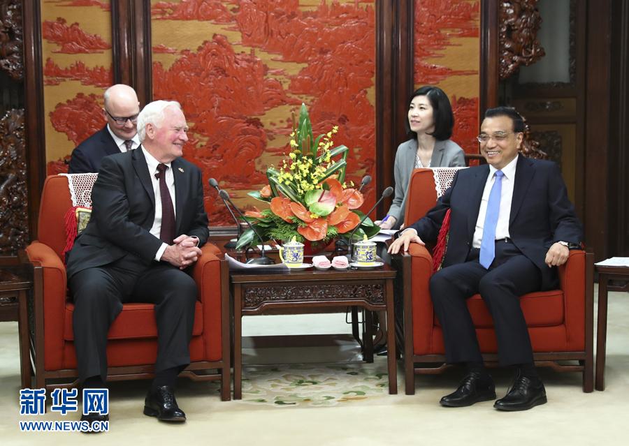 7月13日,國務院總理李克強在北京中南海紫光閣會見加拿大總督約翰斯頓。 新華社記者 謝環馳 攝