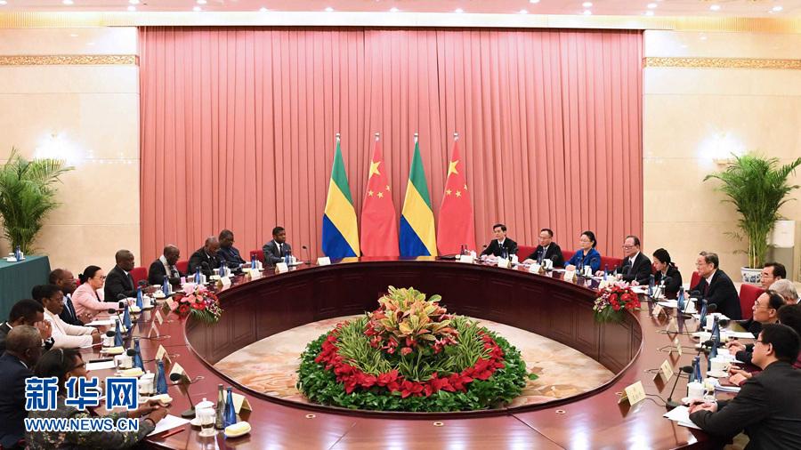 俞正声与加蓬参议长米勒布举行会谈