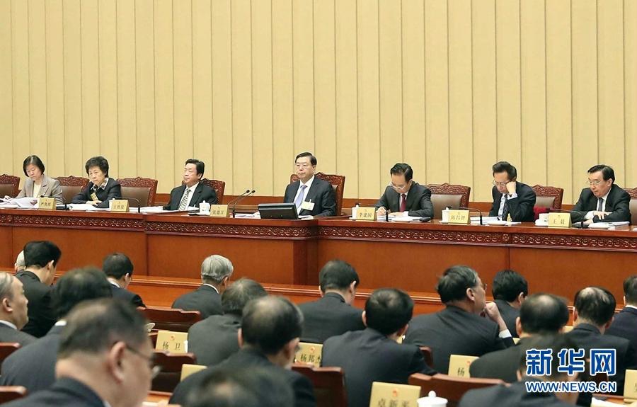 2月23日,十二屆全國人大常委會第三十三次會議在北京人民大會堂開幕。張德江委員長主持會議。 新華社記者 劉衛兵 攝