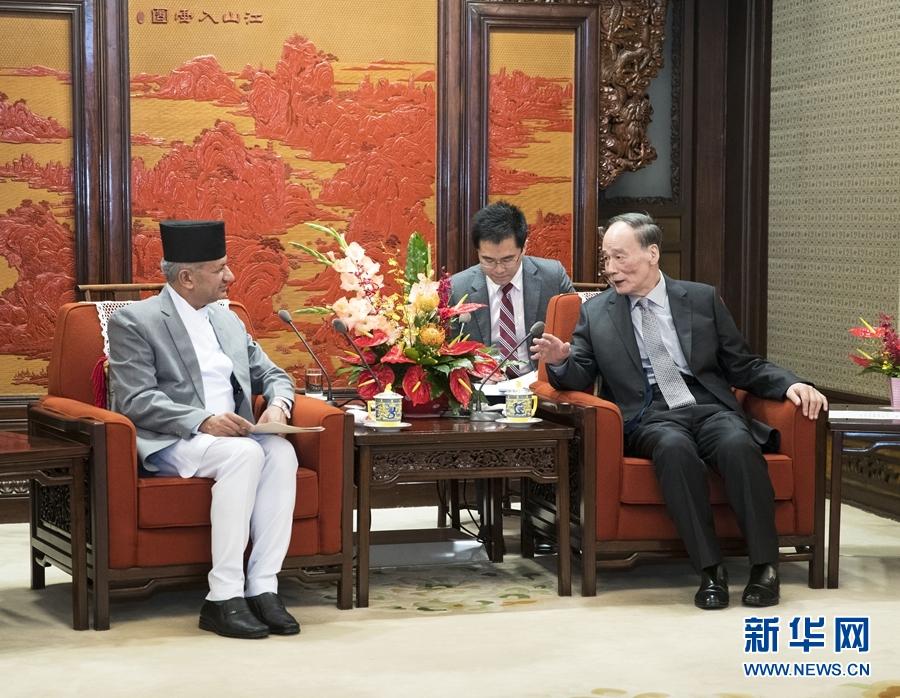 王岐山会见尼泊尔外长贾瓦利