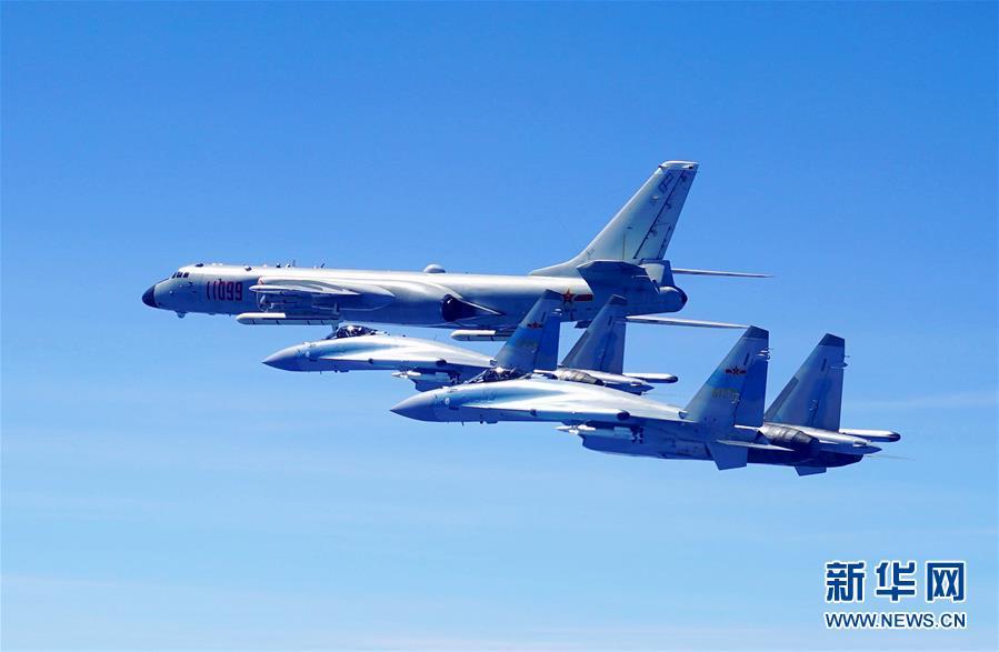 (图文互动)(1)人民空军多型战机双向绕飞台岛巡航