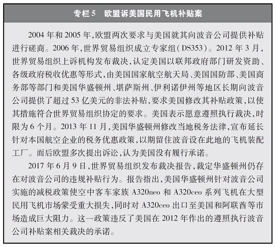 """(图表)[""""中美经贸摩擦""""白皮书]专栏5 欧盟诉美国民用飞机补贴案"""