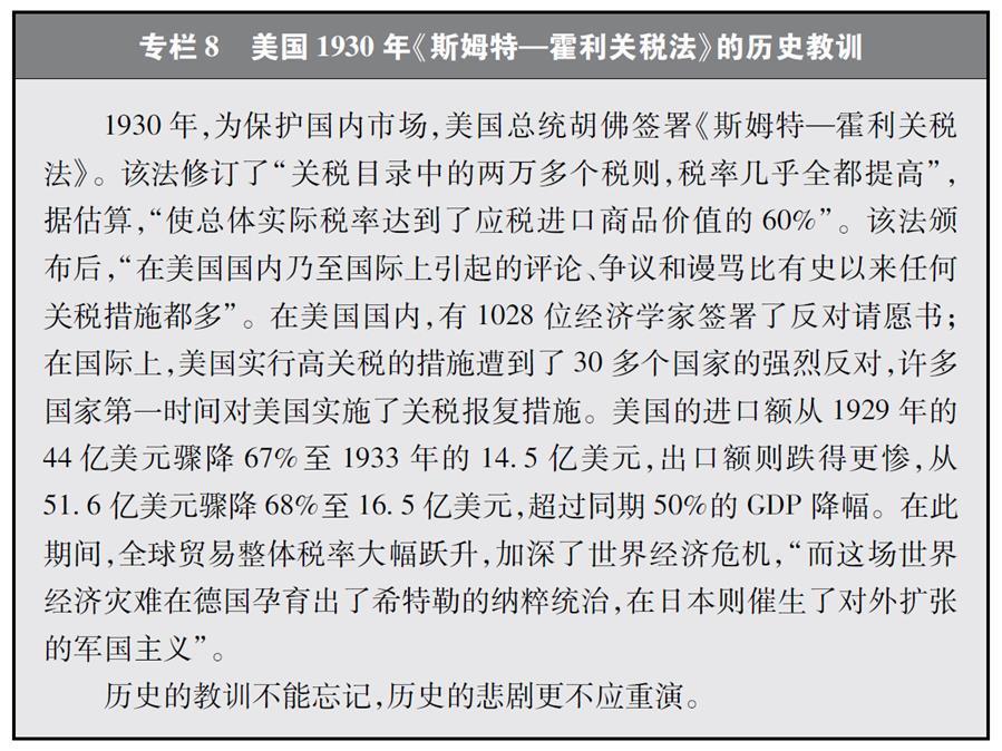 """(图表)[""""中美经贸摩擦""""白皮书]专栏8 美国1930年《斯姆特—霍利关税法》的历史教训"""