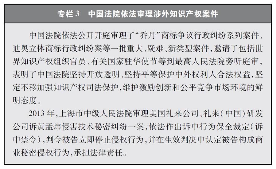 """(图表)[""""中美经贸摩擦""""白皮书]专栏3 中国法院依法审理涉外知识产权案件"""