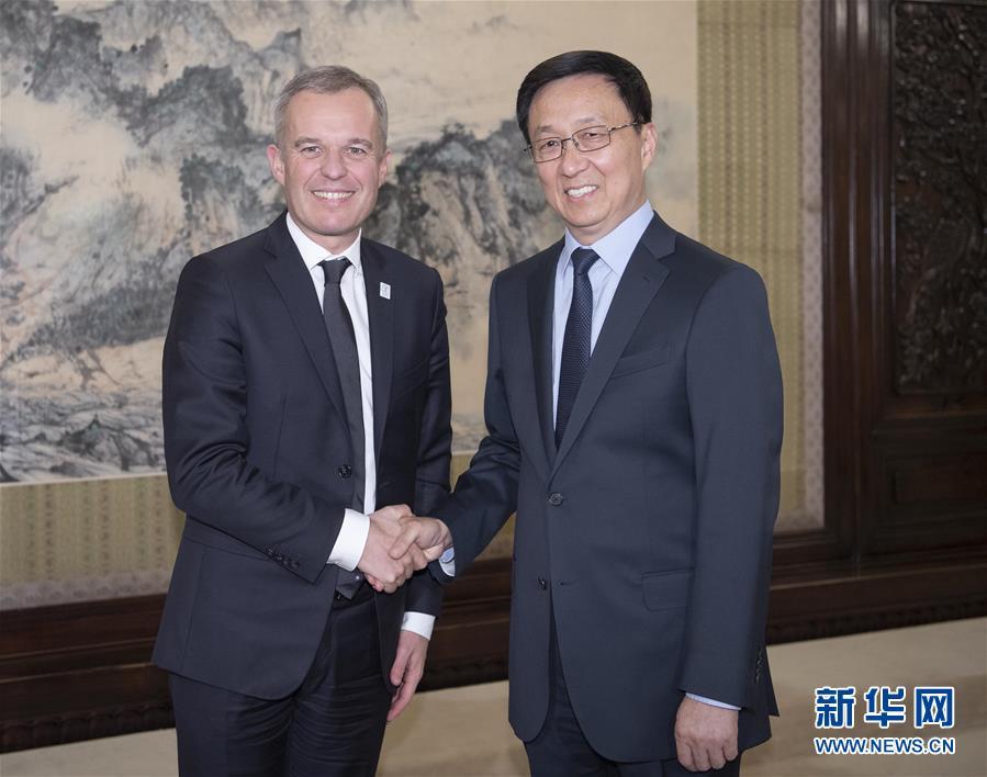 韩正会见法国国务部长兼生态转型与团结部长德吕吉