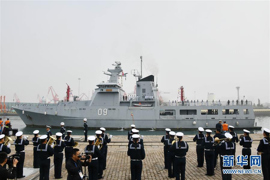 (人民海军70年)(2)来华参加多国海军活动的外国军舰抵达青岛