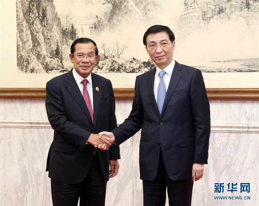 (時政)王滬寧會見柬埔寨首相洪森