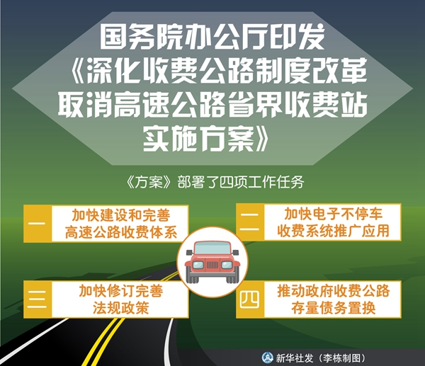 国务院办公厅印发《深化收费公路制度改革取消高速公路省界收费站实施方案》