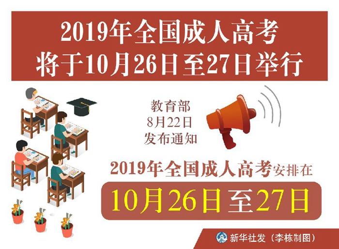 2019年全国成人高考将于10月26日至27?#31449;?#34892;