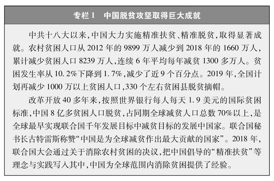 (图表)[新时代的中国与世界白皮书]专栏1 中国脱贫攻坚取得巨大成就