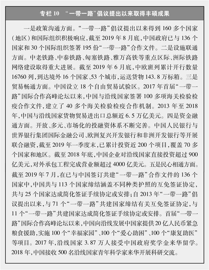 """(图表)[新时代的中国与世界白皮书]专栏10 """"一带一路""""倡议提出以来取得丰硕成果"""
