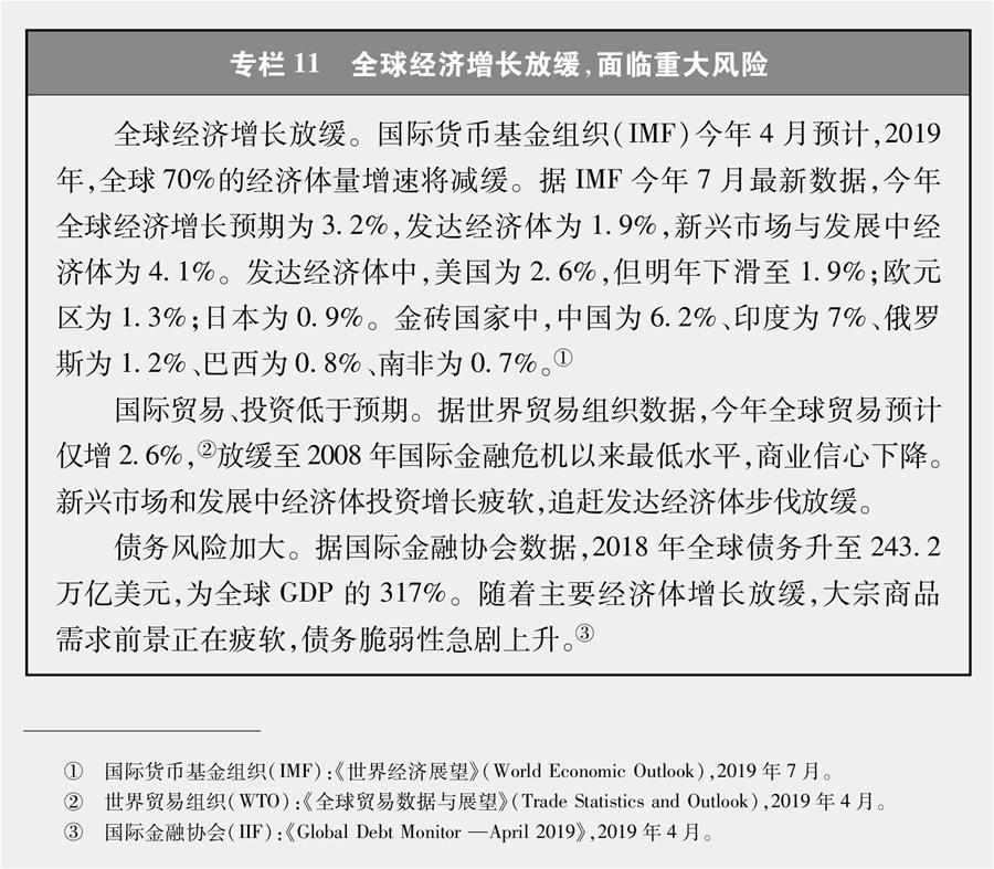 (图表)[新时代的中国与世界白皮书]专栏11 全球经济增长放缓,面临重大风险